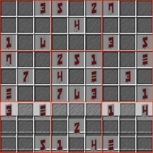 Partie de Sudoky avec les zones 3x3 démarquées